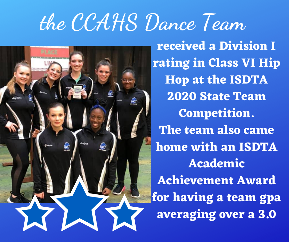 CCAHS Dance Team Received a Division I Rating