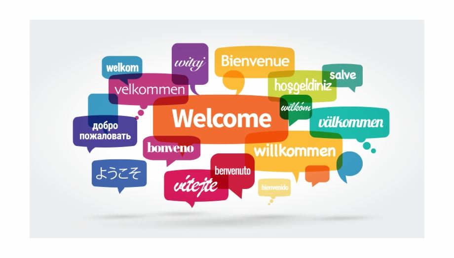 Welcome image in many languages