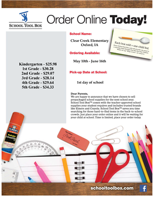 CCE School Supply flyer